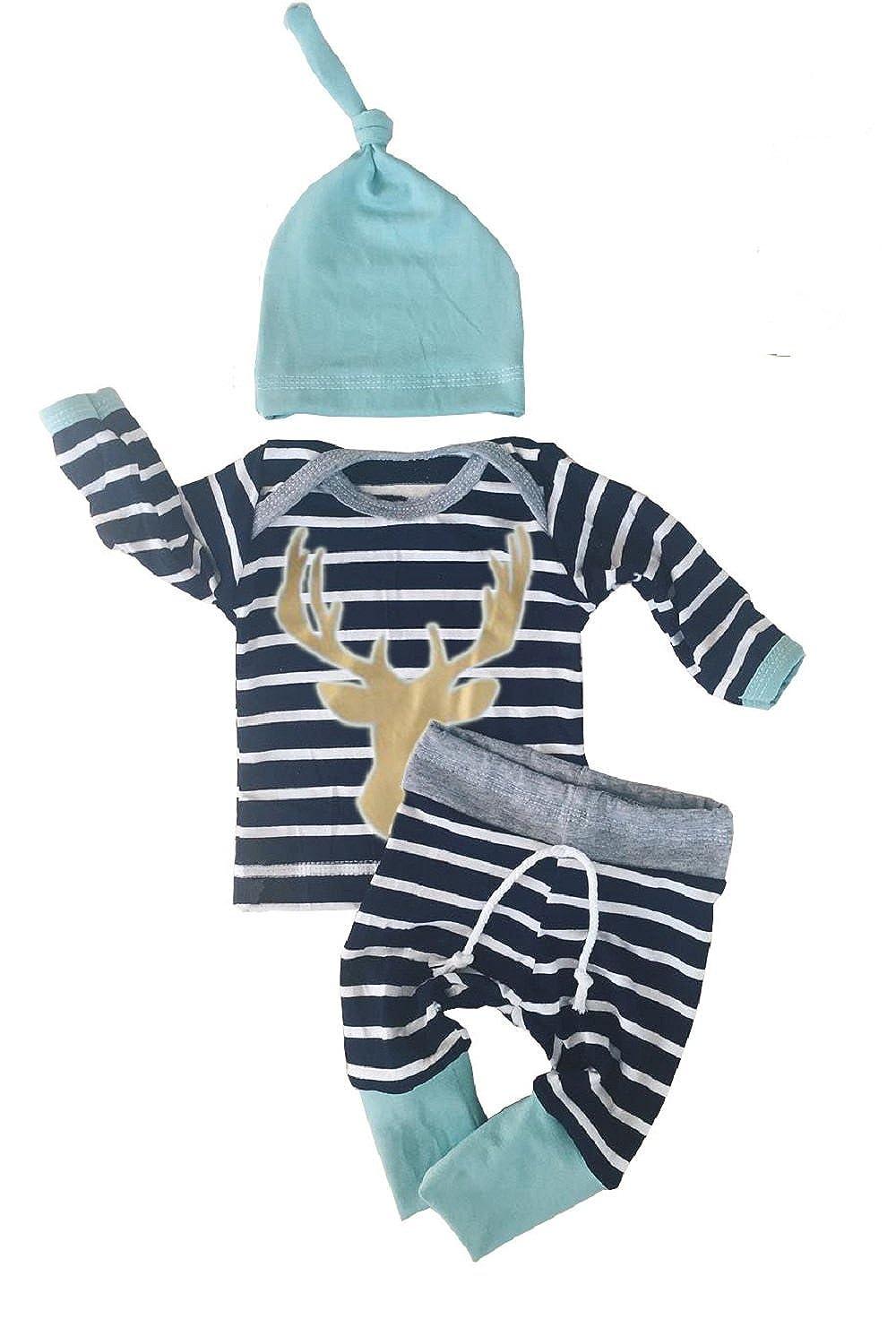 f805dc46d Amazon.com: 3pcs/Set Newborn Baby Boys Girls Striped Long Sleeve Deer Tops  Pants Hat Outfits: Clothing