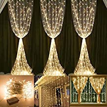 304 LED Curtain Lights, KEEDA 9.8ft Waterproof Window Icicle Fairy String Lights for Christmas Wedding Home Decoration (3M x 3M, Warm White)