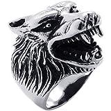 KONOV Vintage Biker Men's Wolf Head Stainless Steel Ring
