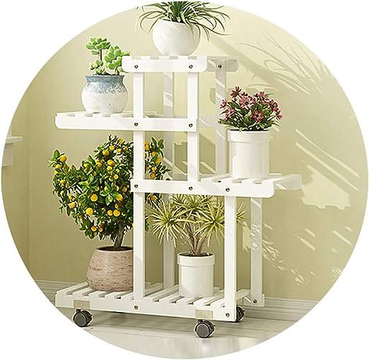 ZENGAI Estantería De Flores Moderno Madera Patio Estante De La Planta Interior Soporte De Exhibición Escalera Estante De Almacenamiento Jardinería (Color : White, Size : 67x25x76cm): Amazon.es: Jardín