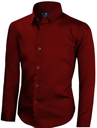 db4b03bf08cd Black n Bianco Boys' Signature Sateen Long Sleeve Dress Shirt (2, Burgundy)