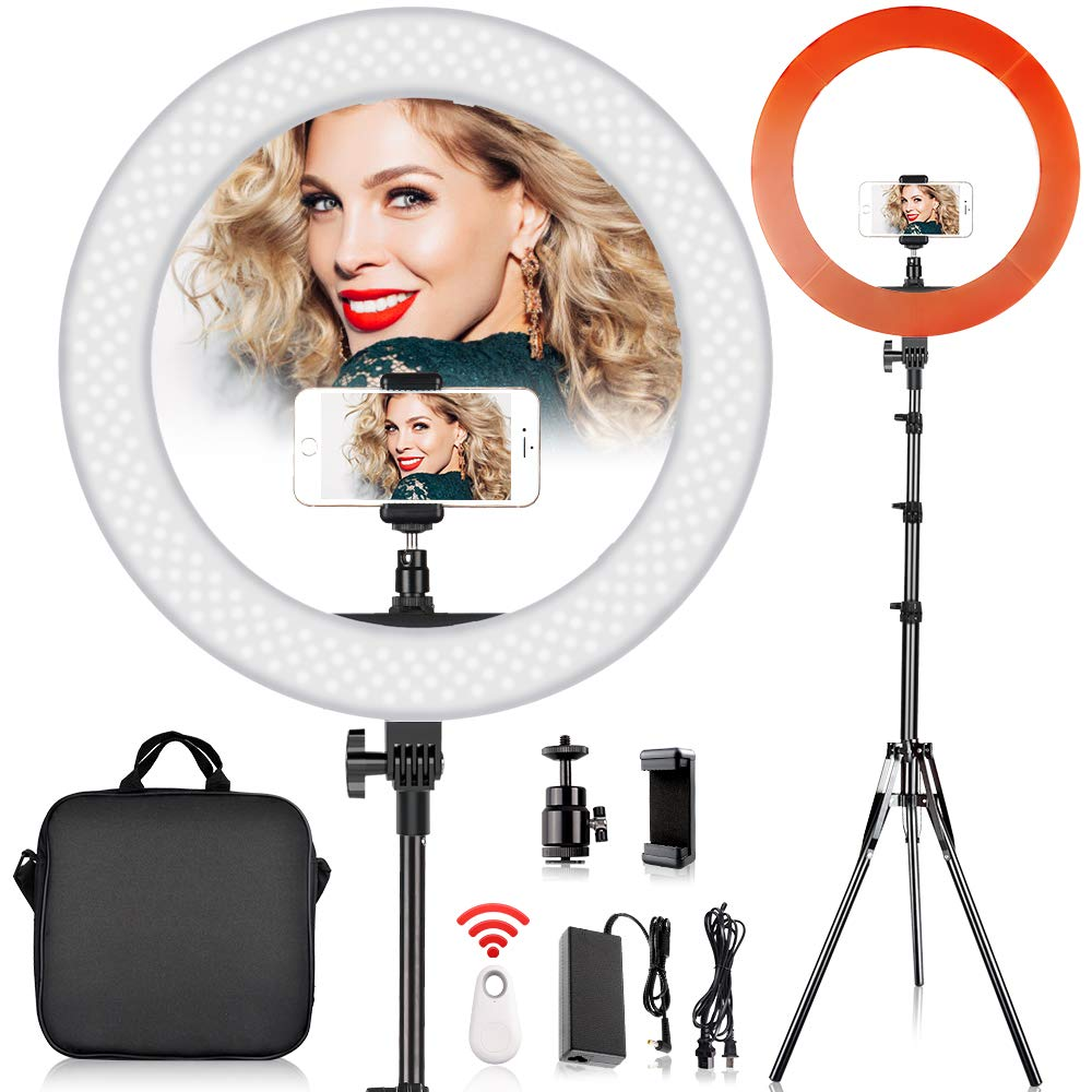 19 inch LED Ring Light with 2M Stand for Phone and Camera, FOSITAN 18 inches/48.5cm Outer 55W 5500K/3200K Dimmable w/Filters Carrying Bag for YouTube Vlog Makeup Studio Video Shooting by FOSITAN