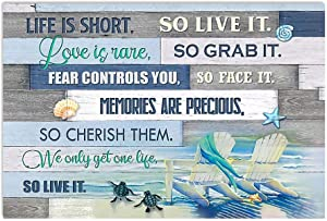 Beach Life is Short Canvas Wall Art Motivational, Wall Canvas Decoration - Beach Life is Short Canvas Wall Decor for Guys & Girls - Artwork for Walls, Room, Home, Office Series 31 Size 16x24