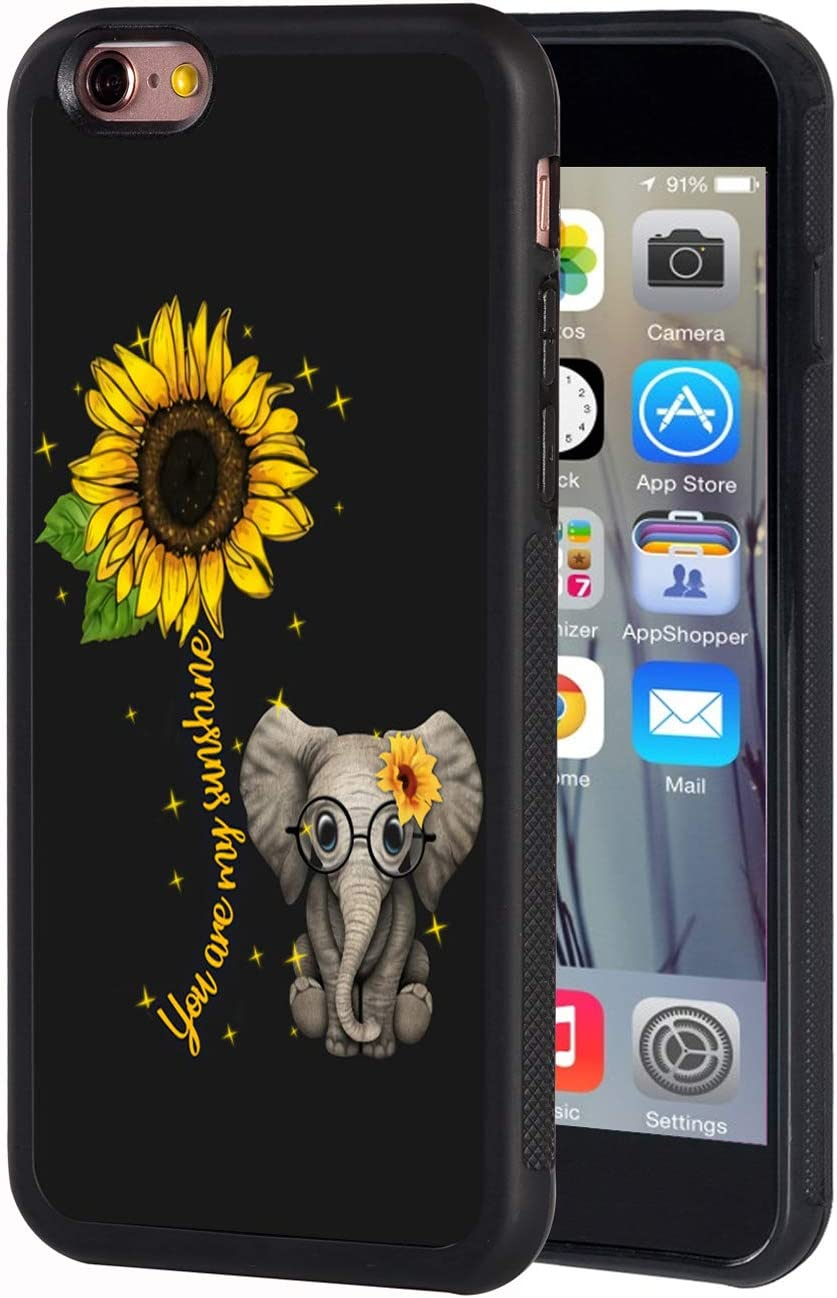 iPhone 6 Plus Case, iPhone 6s Plus Case, Slim Anti-Scratch TPU Rubber Protective Case Cover for iPhone 6 Plus/iPhone 6s Plus 5.5 inch - Sunflower and Elephant