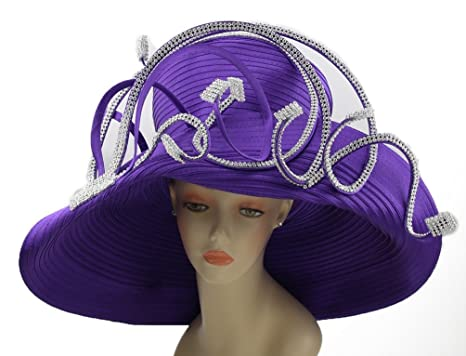 86dc3aa3a23d8 Janes Women Hat Church Hats Wedding Tea Party Formal Hats (Purple ...