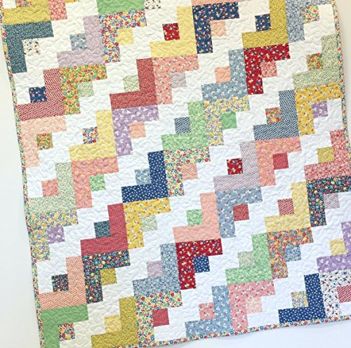 Baby Girl Quilt 1930s Style Log Cabin Nursery Crib Bedding