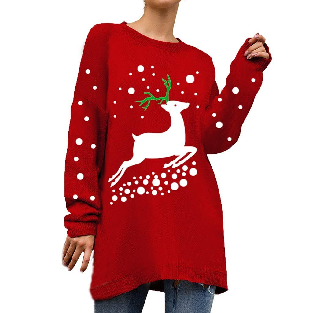 WUAI-Women Oversized Christmas Ugly Sweater Reindeer Snowman Knitted Jumper Pullover Sweatshirts Tops(Red,Large) by WUAI-Women