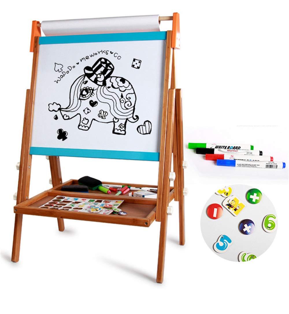 Cavalletto per bambini Cavalletto Art Standing di lusso - Lavagna a secco, Lavagna, Rullo di carta, Lavagna magnetica, Include rotolo di carta e Accessori, Il cavalletto di arte per bambini in legno a