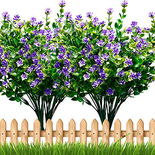 TEMCHY Artificial Flowers Faux Plants, Lifelike Fake Greenery Foliage Shrubs with Purple Baby's Breath Flowers for Garden, Patio Yard, Wedding, Office and Farmhouse Indoor Outdoor Decor from TEMCHY