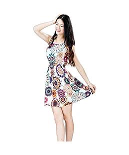 Tongshi Verano de las mujeres sin mangas de la impresión del girasol mayor de los zapatos de la playa del mini vestido (EU 36(Asia M))