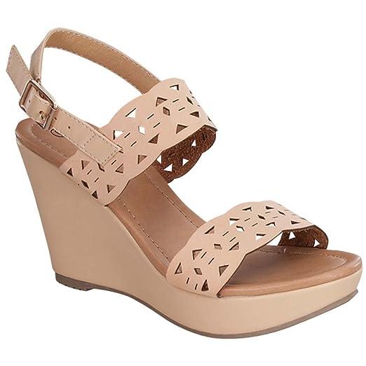 1fa46d2c6 Amazon.com  Top Moda TEE-25 Women s Cut Out Ankle Strap Slingback ...