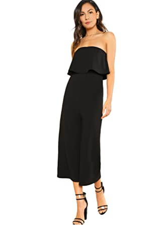 beeebe4d77b SheIn Women s Strapless Tube Top High Waist Wide Leg Flounce Jumpsuit  X-Small Black