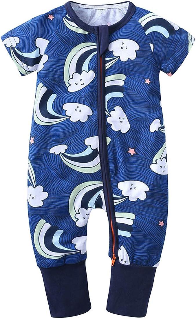 ZFT Baby Boys 1Piece Graphic Zipper Romper Cotton Onesies Short Sleeve Pajamas