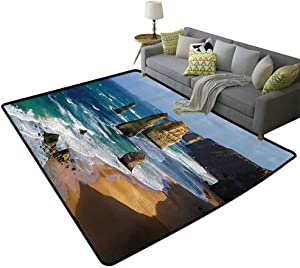Seaside Decor Collection Printed Area Rug Australia Rock Face Lookout by The Sea Sightseeing Panoramic Picture Super Absorbent mud White Blue Teal, 5'x 7'(150x210cm)