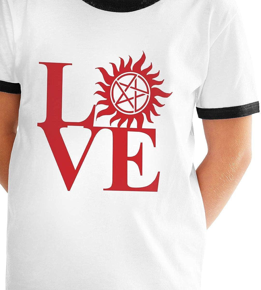 Youth Graphic Boys Girls Love Supernatural Red Logo Teens Short Sleeve T Shirt Tees Shirts Tops Sport