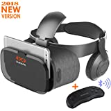 Sukapa VR Headset with Remote Controller Virtual Reality Stereo Headphone Games 3D Movies HD Blue Glass Lens Eye Care System for Iphone and Android Smartphones