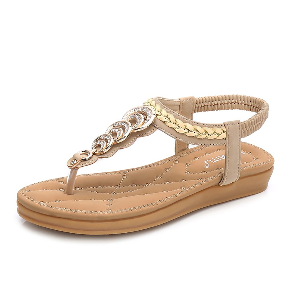 Wollanlily Women's Rhinestone Thong Elastic Sandals Summer Beach Bohemia T-Strap Flip Flops Flat Shoes(8 B(M) US,Beige)