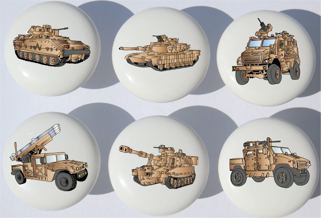 Desert Tan Armored Trucks and Tanks Drawer Pulls / Ceramic Drawer Knobs with Tanks, and Military Vehicles , 6 Set (Desert Tan) by Presto