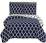 Navy and White Meridian Full / Queen Coverlet 3pc set, Oversized Luxury Microfiber Printed Quilt by Royal Hotel