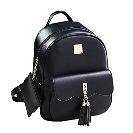 0fe8a437e31 DWE PU Leather Women Backpack,Black Small School Bag Travel Rucksack for  Teenage Girls (Black)