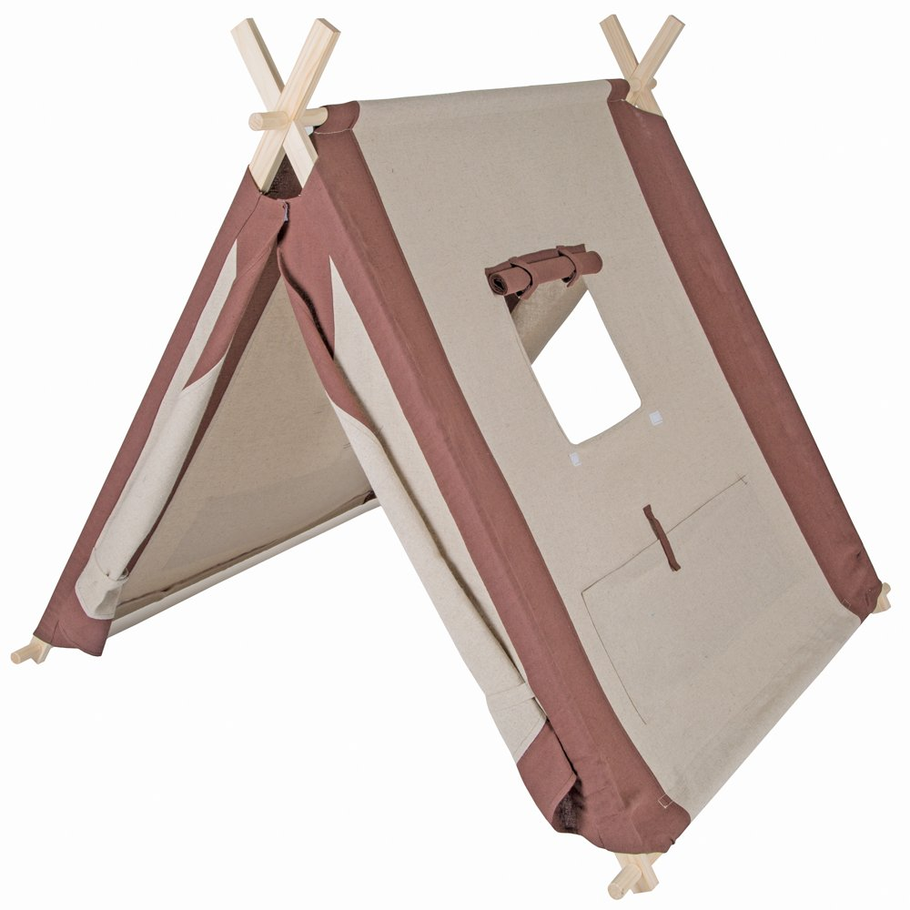 Pacific Play Tents Natural Linen Kids ''A-Frame'' Teepee Playhouse - 45'' x 42'' x 35''