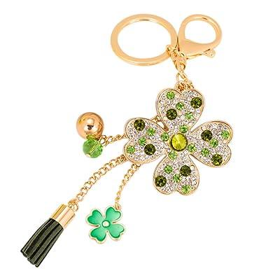 Qinlee Porte-clés en Alliage Fleur chanceux Porte-clés Forme de trèfle Charme Trousseau size 18*12.5*5.5 cm (Vert)