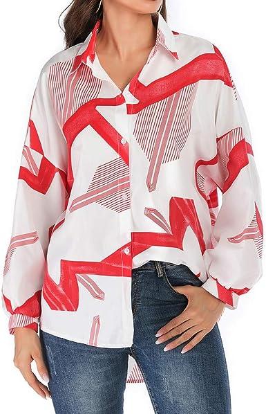 Blusa de Mujer ☆BuyO☆ Camisa de Manga Larga para Mujer Formal Oficina Trabajo Uniforme Camisas con Botones para Mujer Cuello de Manga Larga Impreso Floral Oficina Formal Elegante Camisetas Túnica: Amazon.es: Ropa