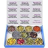 Tea Sampler - Flower Tea - Decaffeinated - Herbal - Gift Box - Chrysanthemum - Mint - Linden Flower- Saffron - Hibiscus - Lavender - Chamomile - LemonGrass - Rose - Loose Leaf Tea