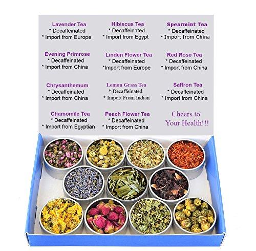 Tea Sampler - Flower Tea - Decaffeinated - Herbal - Gift Box - Chrysanthemum - Mint - Linden Flower- Saffron - Hibiscus - Lavender - Chamomile - LemonGrass - Rose - Loose Leaf Tea Chinese Chrysanthemum Tea