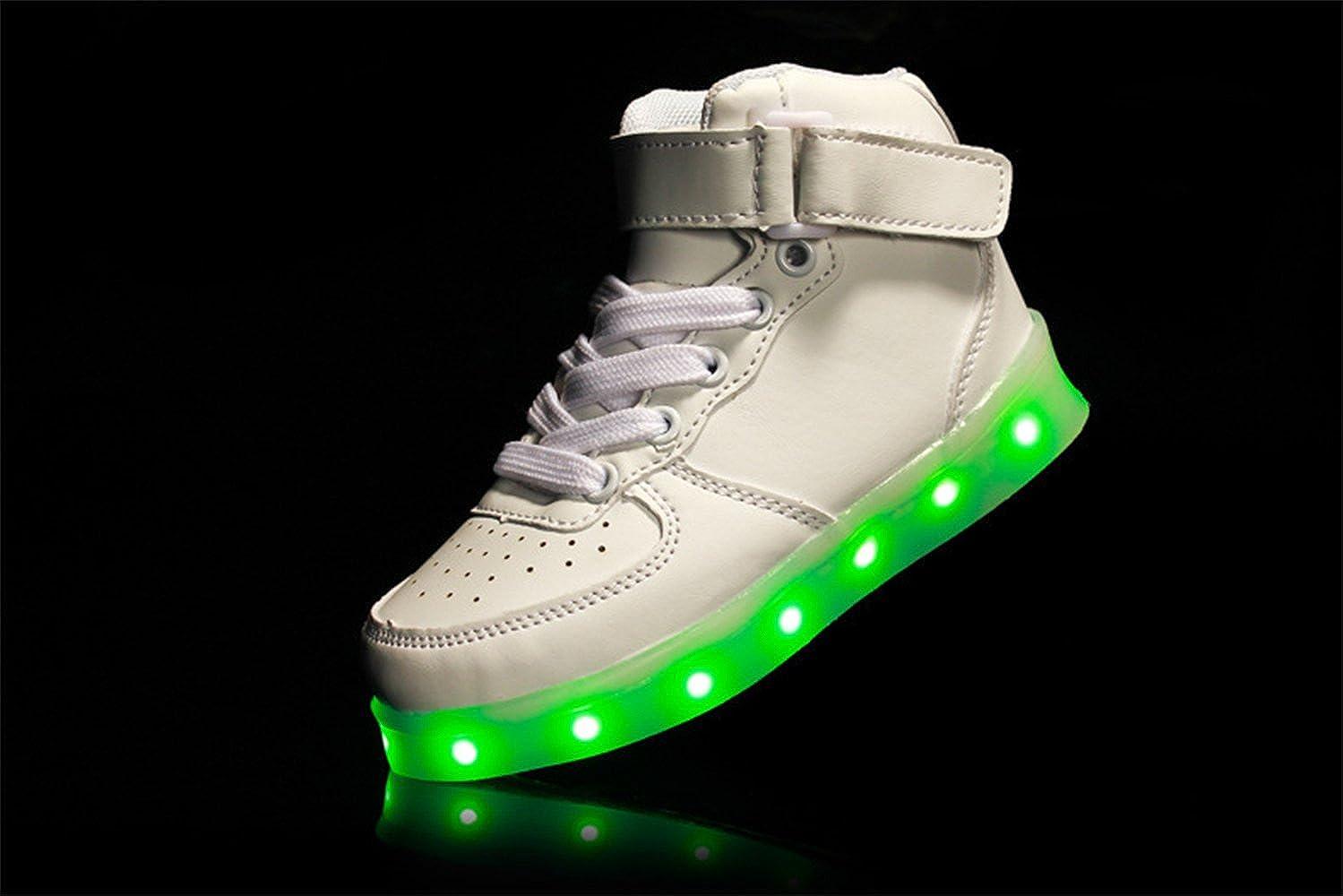 24XOmx55S99 Kids LED USB Charging Light Up High Tops Boys Running Shoes Girls Luminous Sneakers