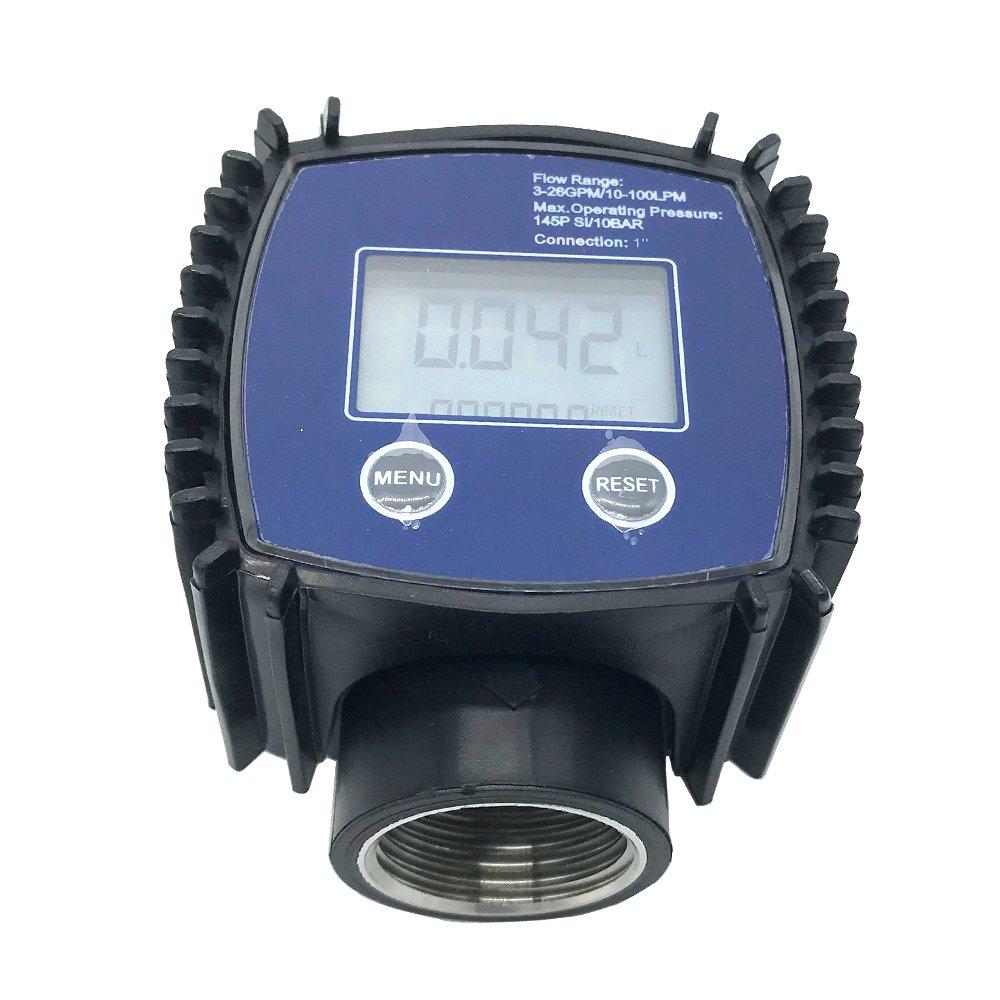 1'' Flow Water Sensor Meter+Digital LCD Display 1 inch Stainless Flow Meter Methanol/Diesel/Gasoline/Kerosene Liquid/Water/Turbine/Oil flowmeter Internal Thread
