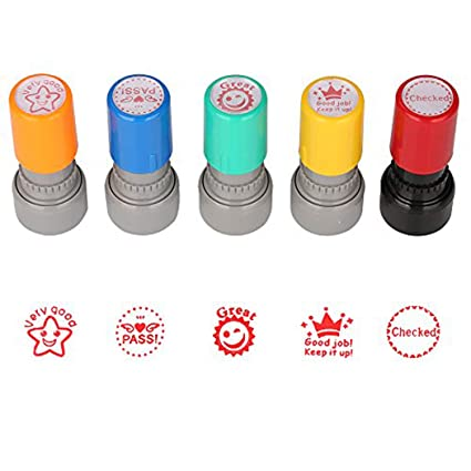 TEKEFT Pack Of 5 Sorted Teachers Self Inking Rubber Stamps Teacher Review Photosensitive For