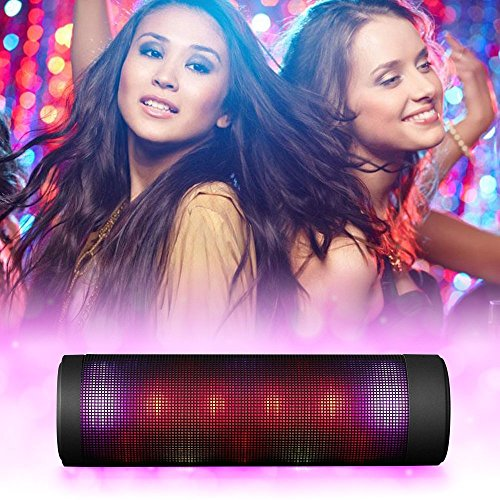 Large Product Image of Portable Wireless Bluetooth Speakers, Outdoor Home Hi-Fi LED Speaker with Lights Built-in Mic,AUX,TF, FM Radio,Hands Free Support for Ipad, Iphone, Samsung,Galaxy Black