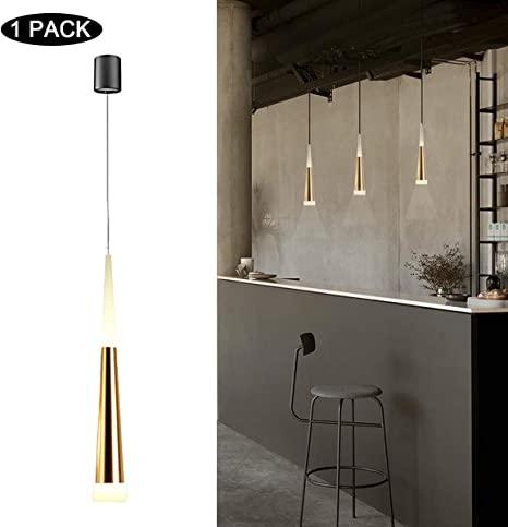 Sluce Mini Modern Pendant Light in Gold Finish with Acrylic Shade  Adjustable LED Cone Pendant Lighting for Dining Rooms Kitchen Island Living  Room 7W ...