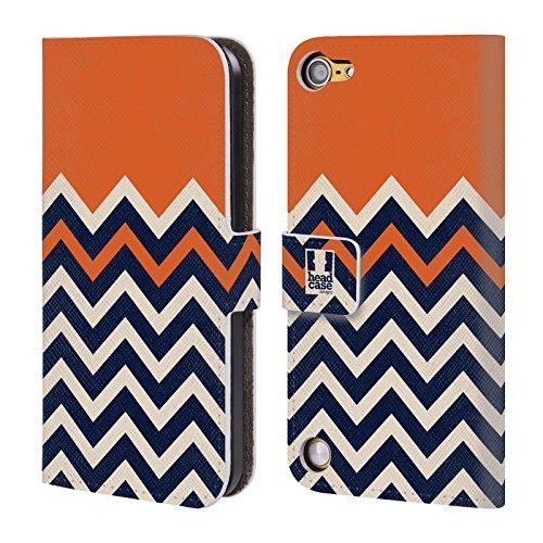 Head Case Designs Arancione Chevron A Blocchi Di Colore Cover a portafoglio in pelle per iPod Touch 5th Gen / 6th Gen