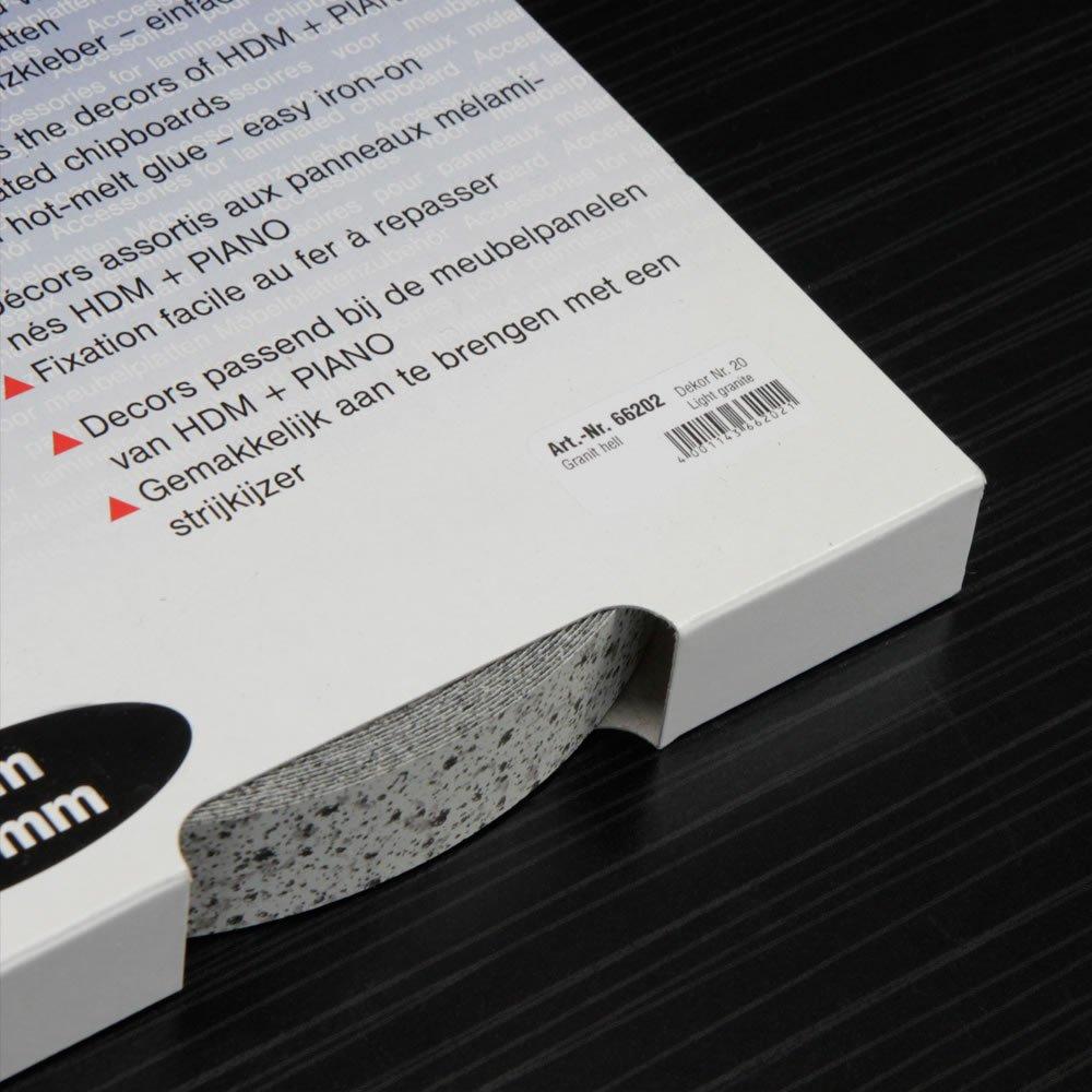 Kantenumleimer f/ür M/öbelbauplatten und Regalbretter Granit Hell 25 m x 20 mm