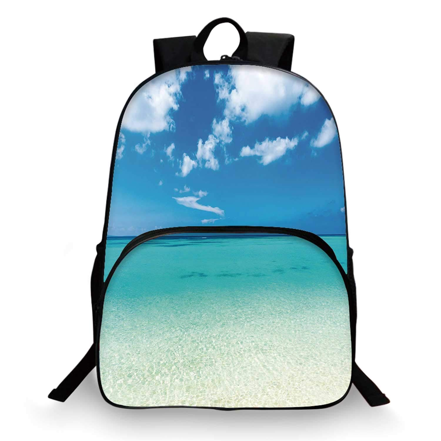 Tropical Various Schoolbag,Paradise Ocean Dreamy Sea Vacation Serene Summer Exotic Relax Summer Picture for student,11''Lx6''Wx15''H by C COABALLA