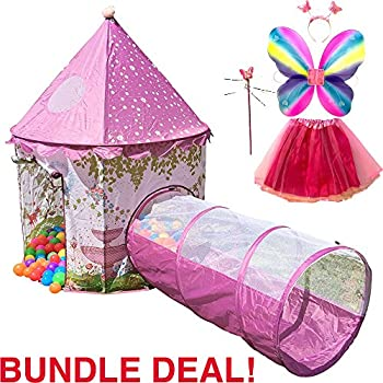 Playz 6-Piece Princess Castle Play Tent with Crawl Tunnel Butterfly Wings Tiara Crown Princess Wand Tutu Dress Up Costume and Pink Girls Playhouse ...  sc 1 st  Amazon.com & Amazon.com: Kiddey Princess Castle Play Tent (Pink) - With Glow in ...