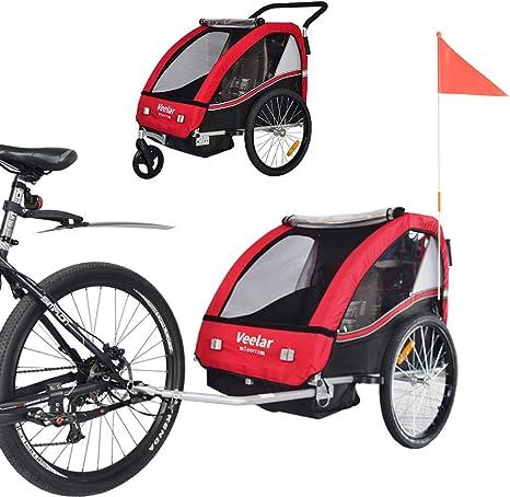 Remolque de bici para niños con kit de footing - ROJO BT502-D01 ...