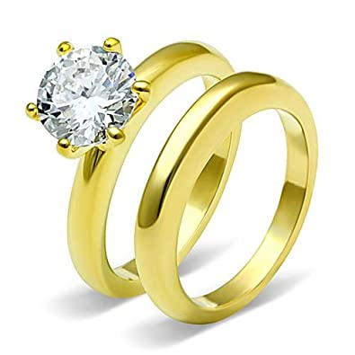 Classic Stainless Steel Round Solitaire cz Wedding Engagement 2 Ring Zirconia Gold Plated Set Size 5