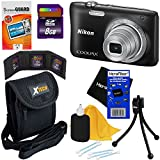 Nikon Coolpix S2900 20.1 MP Point and Shoot Digital Camera with 5x Optical Zoom and 720p HD Video (Black) + 7pc Bundle 8GB Accessory Kit w/ HeroFiber® Ultra Gentle Cleaning Cloth
