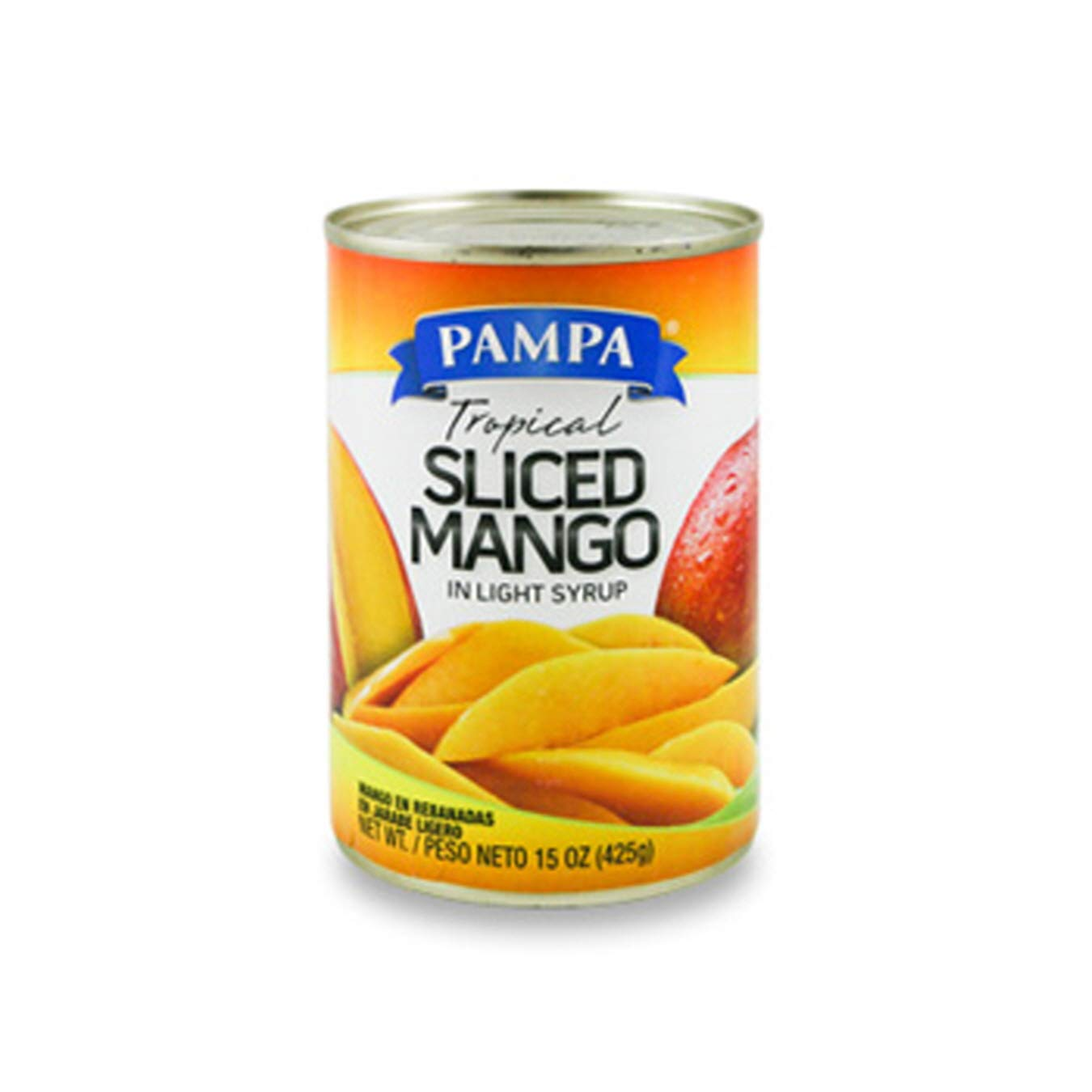 (Pack of 12) Pampa Mango Sliced, Mango in Lite Syrup, 15oz