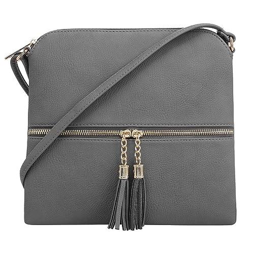 SG SUGU Lightweight Medium Crossbody Bag with Tassel and Zipper Pocket (Grey) best crossbody bags