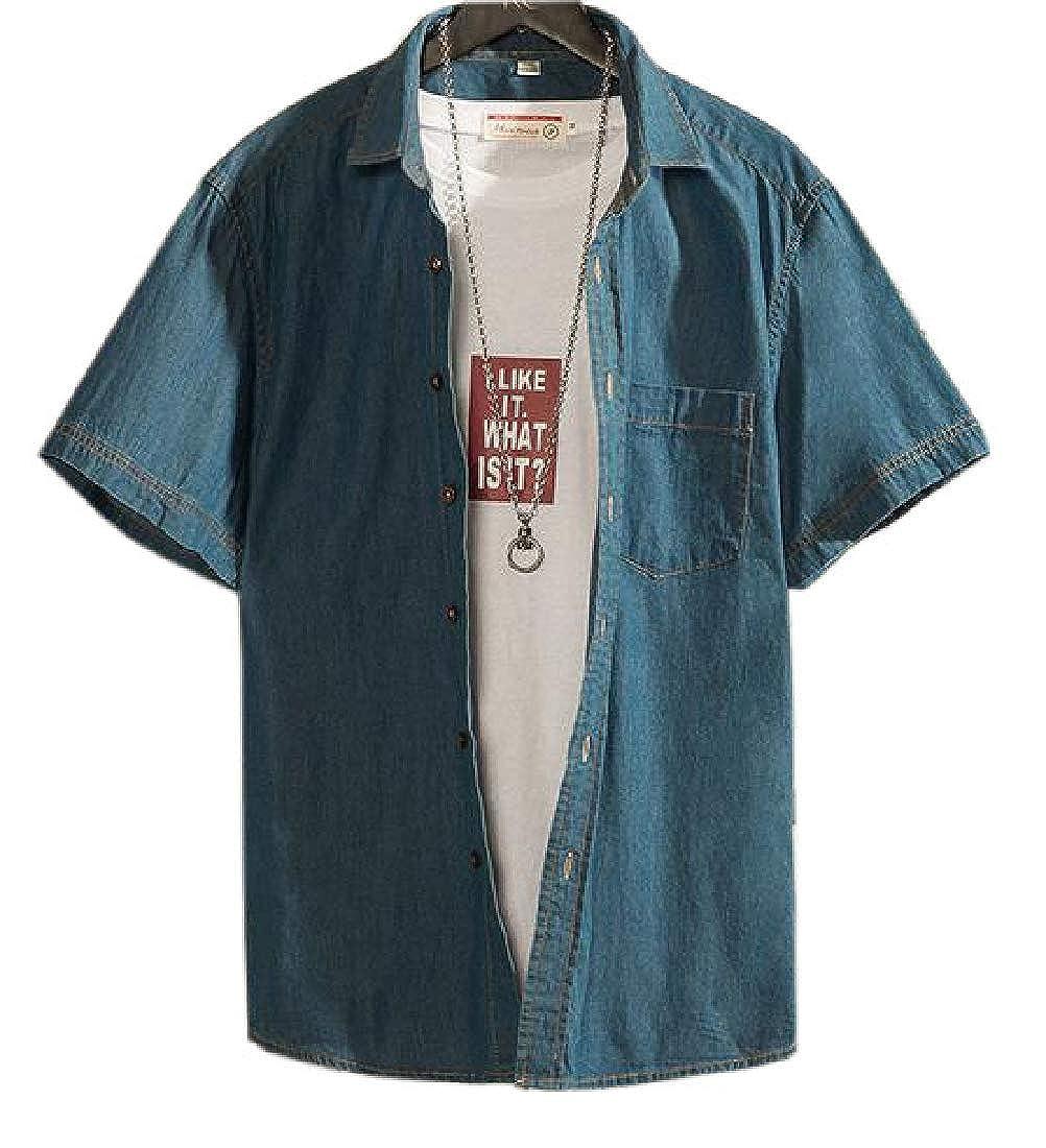 Men Casual Work Short Sleeve Denim Shirt Button Down Shirt