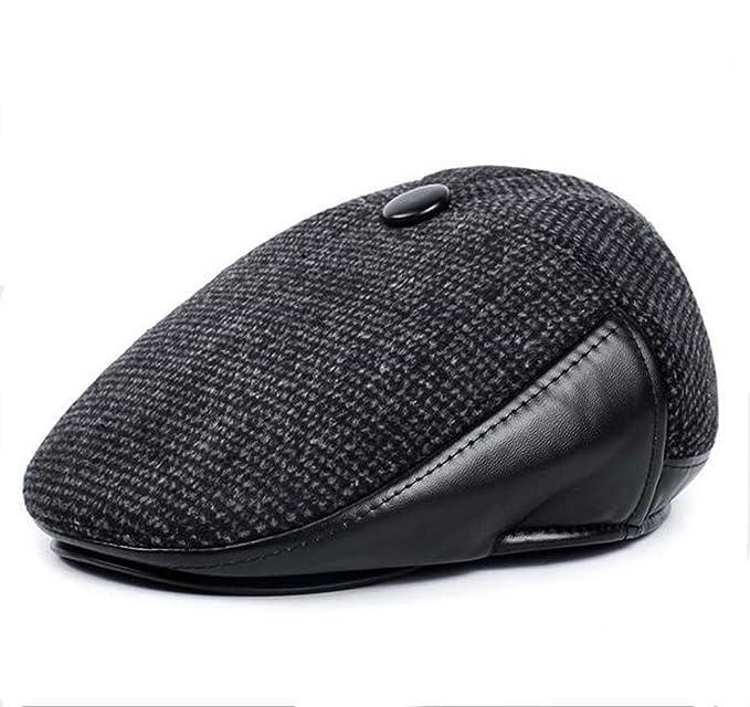 17efb72eecd Elwow Men s Winter Linen   Leather Cabbie Vintage Flat Cap