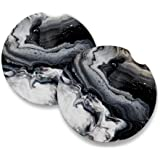 Black Marble | Car Coasters for drinks Set of 2 | Perfect Car Accessories with absorbent coasters. Car Coaster measures…