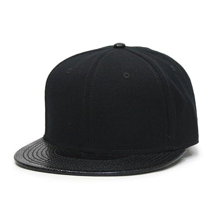 e76c97ef135 Premium Plain Wool Blend Adjustable Square Flat Bill Snapback Hats Baseball  Caps (Snake Black)