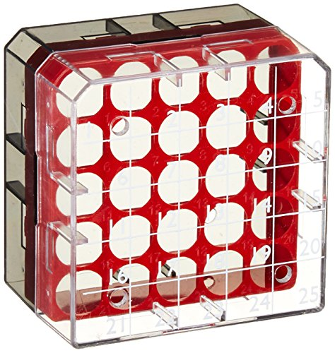 Globe Scientific BioBox 3039R Polycarbonate Storage Box with Transparent Lid for 1mL and 2mL Tubes, Holds 25 Vials, Red (Pack of 8)