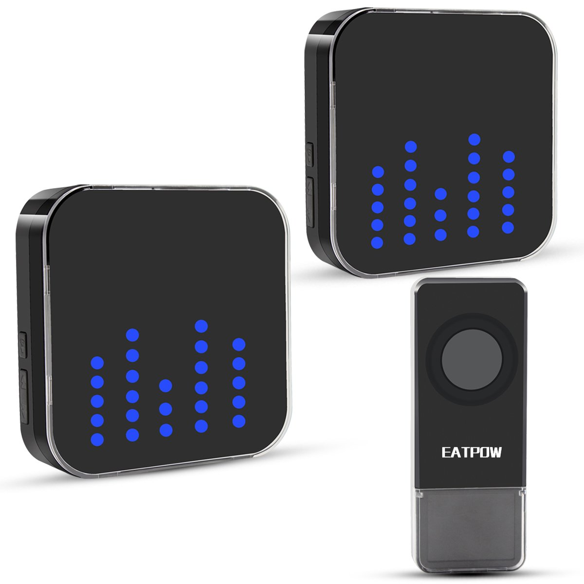 Wireless Doorbell,EATPOW Door Bell Chime Kit,1 Push Button & 2 Plug - in Receivers,Over 1000 Feet Operating Range with 4 Levels Volume and LED Flash 52 Melodies to Choose.