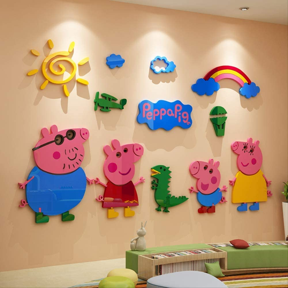Peppa Pig - Adhesivo decorativo para pared (acrílico, 130 x 110 cm), diseño 3D estereoscópico